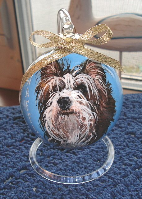 Handpainted Ornament Animals Dogs Painting - Waffle by Bev Chudey