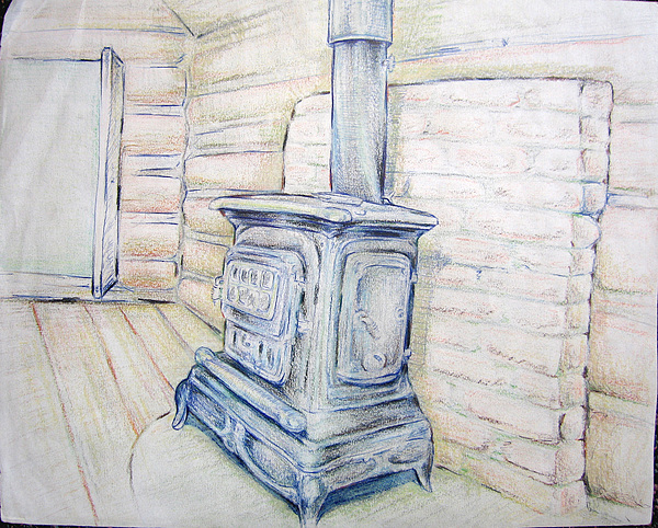 Almont Drawing - Wagon Wheel Cabin by Jeremy Robinson