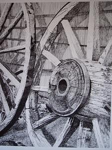 Wagon Wheels Print - Wagon Wheels by Rose Wood