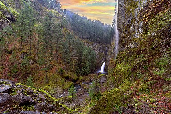 Wahclella Falls Photograph - Wahclella Falls In Columbia River Gorge by David Gn