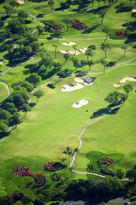 Aerial Photograph - Wailea Gold And Emerald Courses by Ron Dahlquist - Printscapes