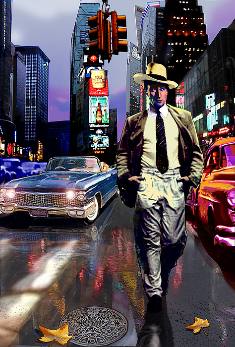 Gentleman Mixed Media - Waine Walking In Times Square by Jose Roldan Rendon