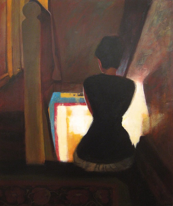 Female Painting - Waiting For Ghosts On A Hot Summer Sunday Evening by Jeanine Leclaire