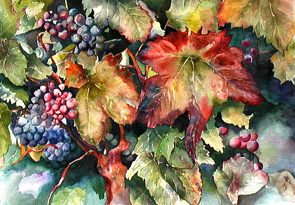 Grapes Painting - Waiting For Merlot by Diane Fujimoto