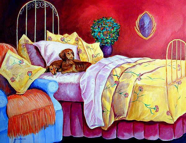 Dachshund Dog Painting - Waiting For Mom - Dachshund by Lyn Cook