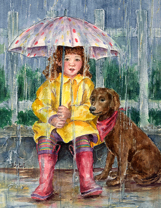 Children Painting - Waiting For Sunshine by Barbel Amos