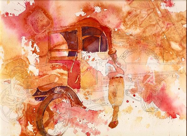 Waiting For The Load Painting by Wendy Hill