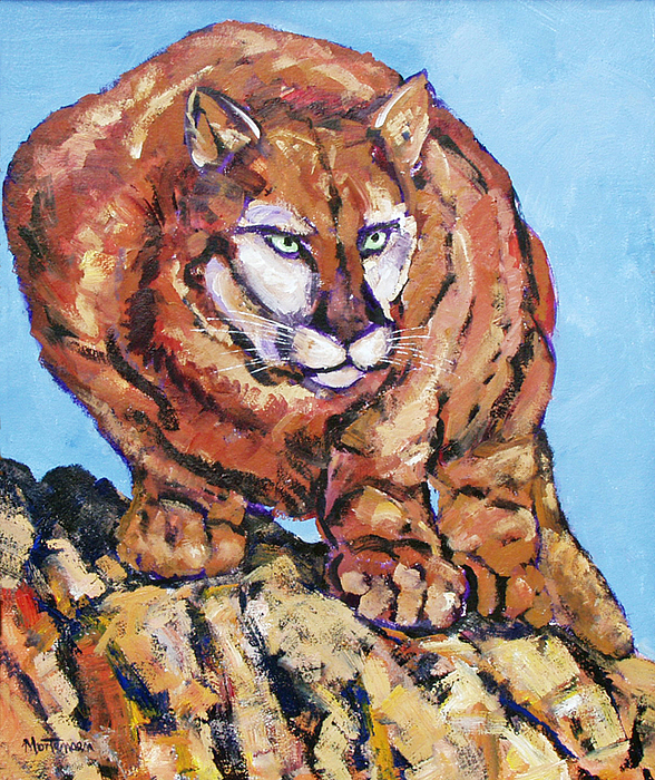 Cougar Painting - Waiting For The Moment by Mark Mortensen