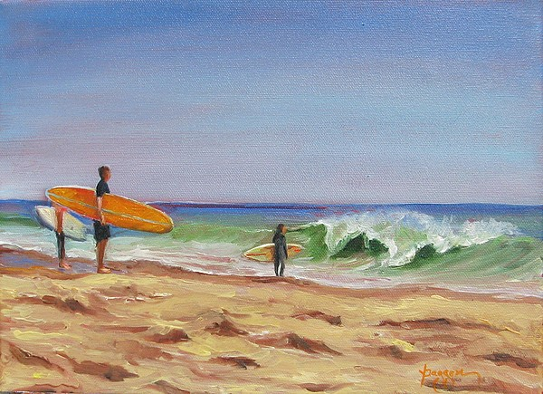 Surfer Painting - Waiting For The Moment by Yvonne Dagger