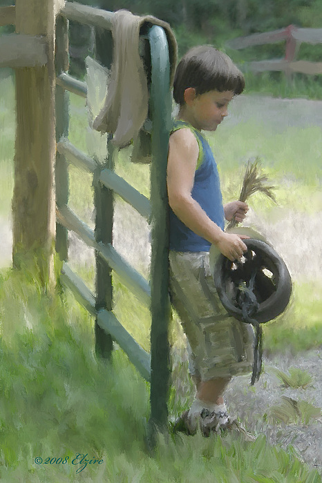 Pony Painting - Waiting For The Pony by Elzire S