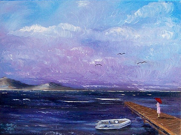 Seascape Painting - Waiting On The Dock by Tony Rodriguez