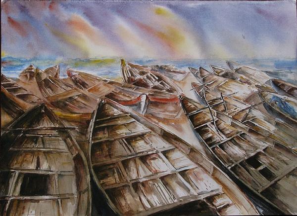Boat Painting - Waiting by Sagnik Datta