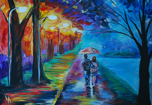 Couple In Love Painting - Walk By The Lake  by Leslie Allen