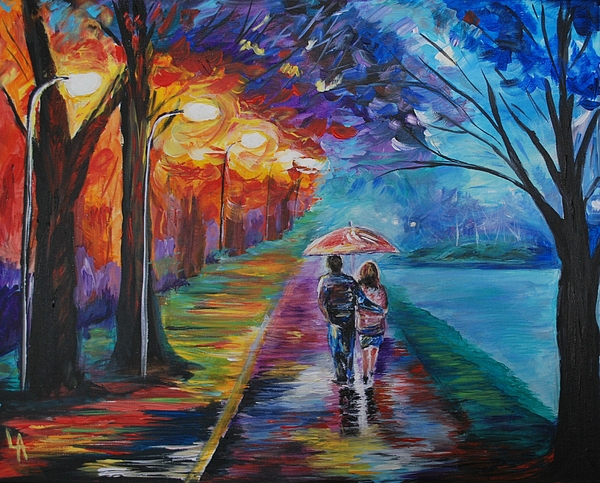 Couple In Love Painting - Walk By The Lake Series 1 by Leslie Allen