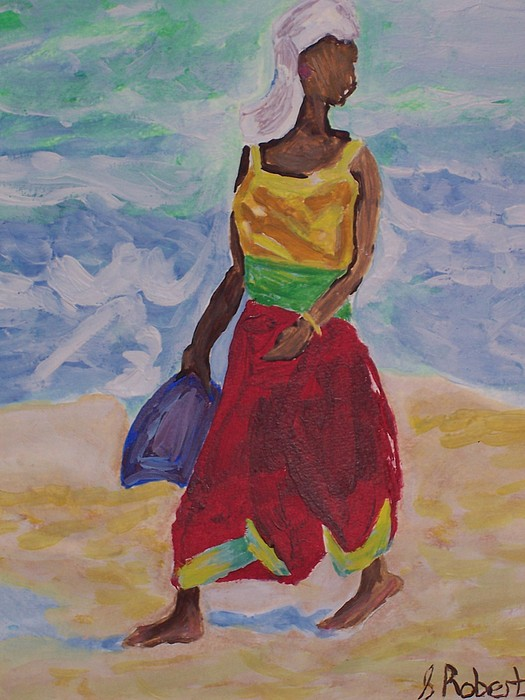 Walk On The Beach Painting by Sharon  Roberts