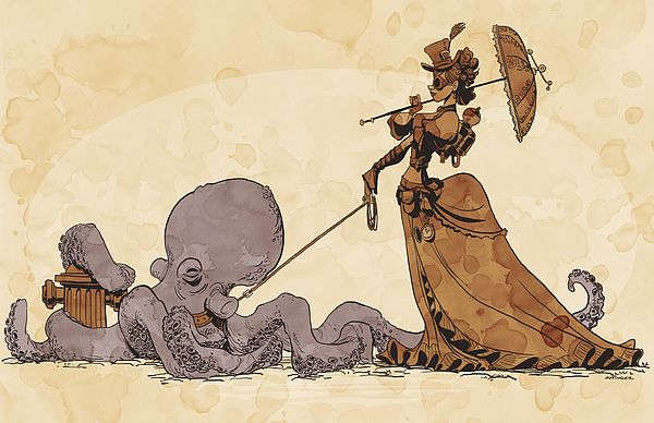 Steampunk Digital Art - Walkies For Otto by Brian Kesinger