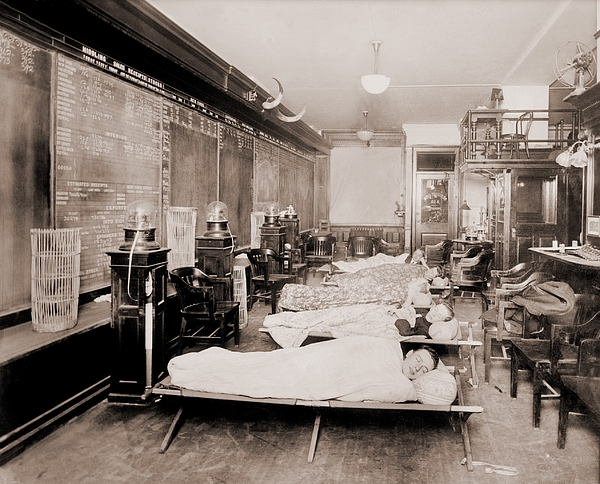 History Photograph - Wall Street Clerks Sleeping In Office by Everett