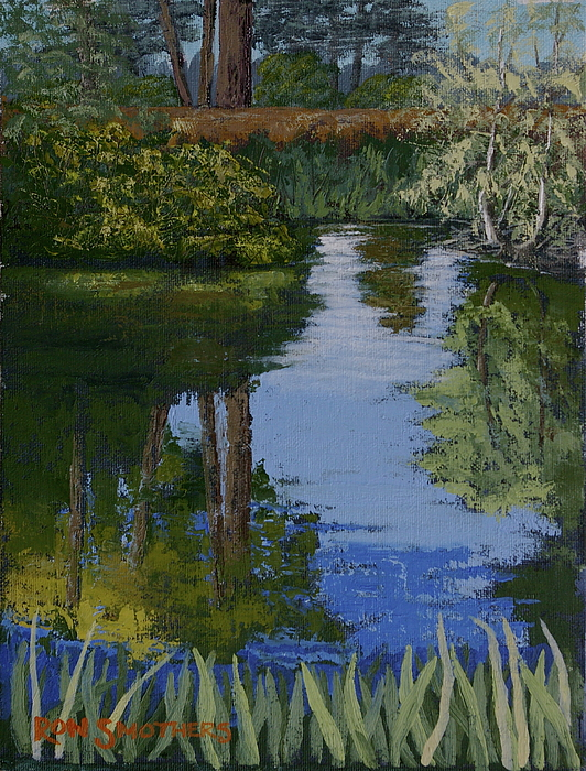 Waterscape Painting - Waller Park Pond by Ron Smothers