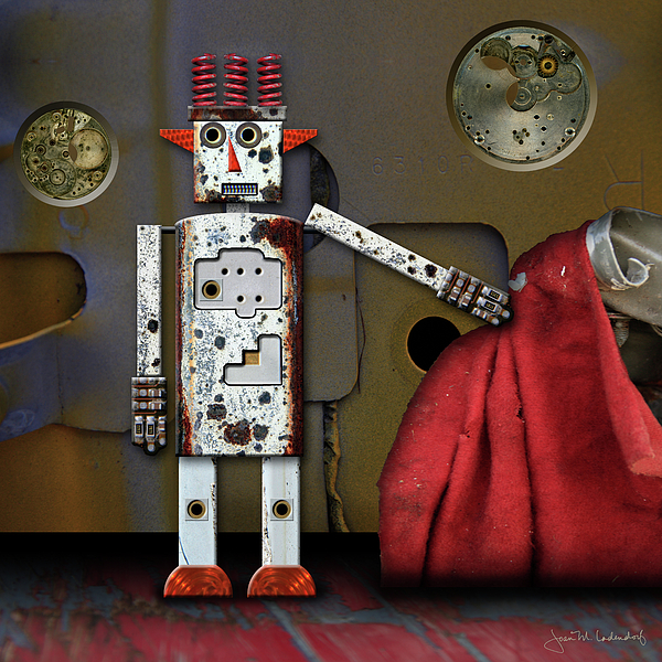 Robot Photograph - Walter Has A Surprise by Joan Ladendorf