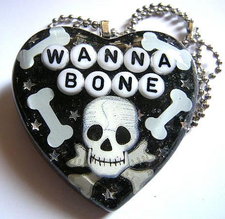 Weird Jewelry - Wanna Bone - A Halloween Skull And Bone Necklace by Razz Ace