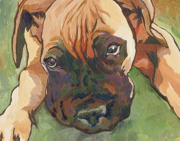 Dog Painting - Wanna Play by Sandy Tracey