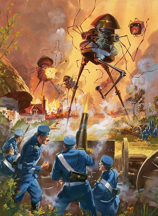 Story Painting - War Of The Worlds by Barrie Linklater