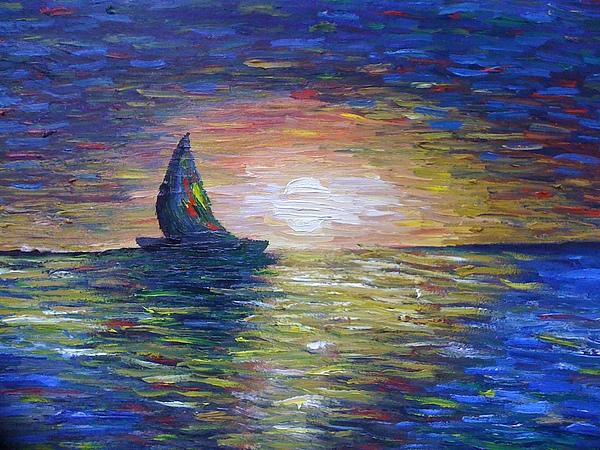 Blue Painting - Warm Summer Night by Aida Behani