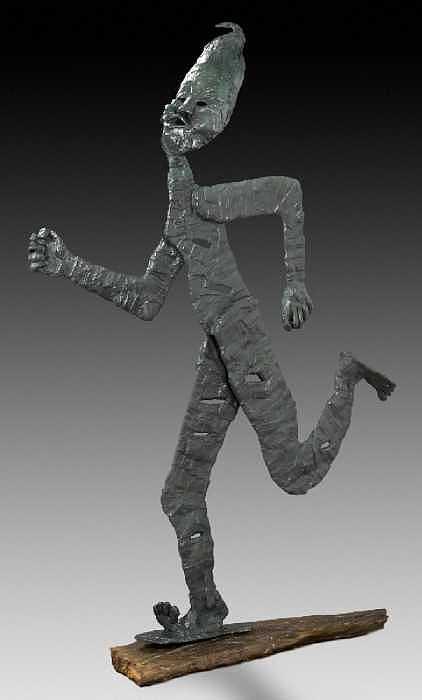 Warrior In The Wind Sculpture by Marsha De Broske
