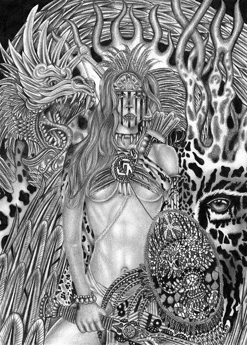 Warrior Drawing - Warrior Princess by Michael Reymann