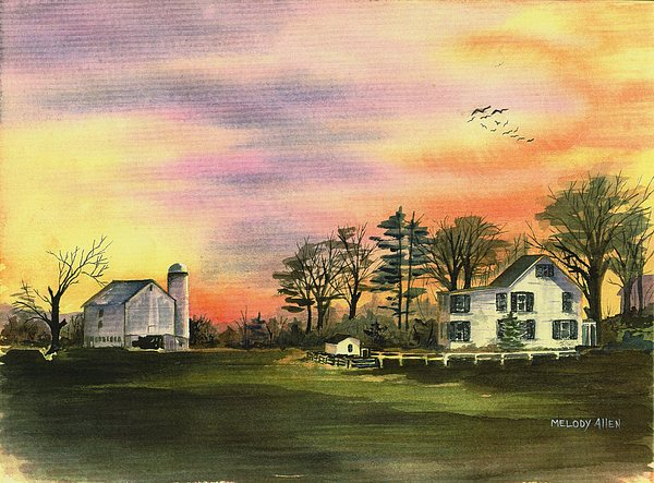 Geese In Flight Painting - Warwick Farm At Sunset by Melody Allen