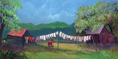 Wash Day Painting by Bob Pittman