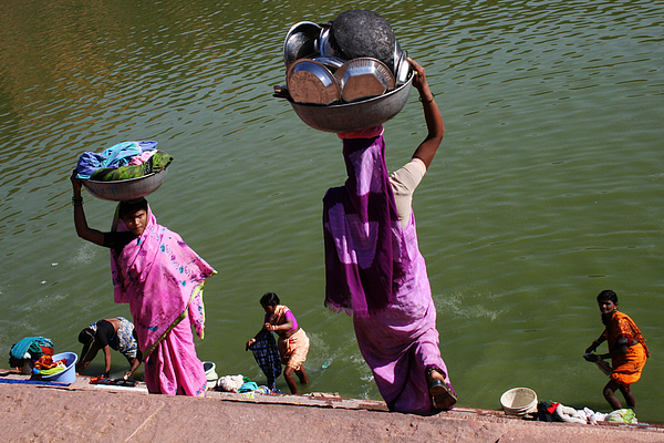 Ghat Photograph - Washing Day Sari Clad Women Ghat Steps India by Jane McDougall