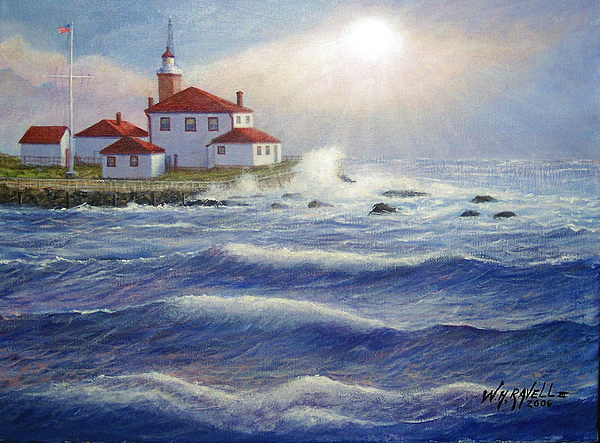 Lighthouse Painting - Watch Hill Lighthouseri In Breaking Sun by William H RaVell III