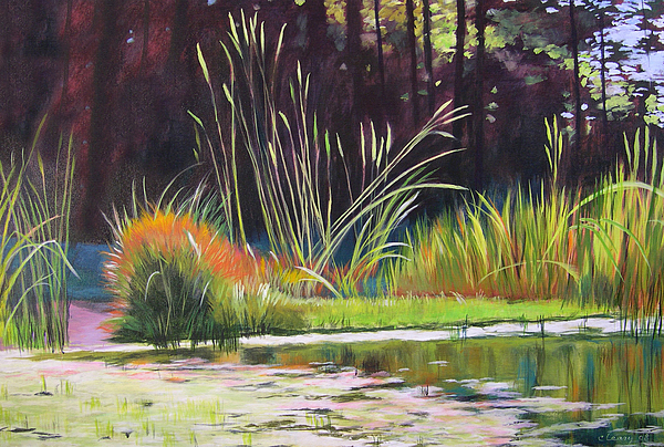 Acrylic Painting - Water Garden Landscape by Melody Cleary