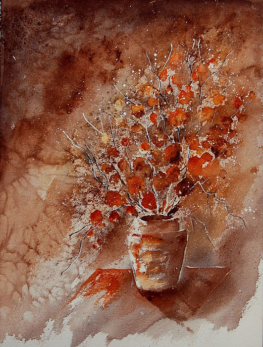 Poppies Painting - Watercolor Autumn Bunch by Pol Ledent