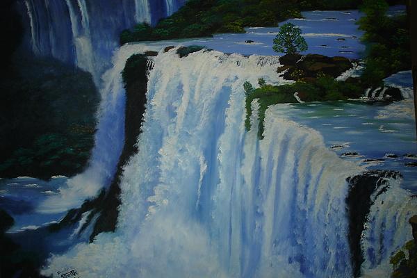 Water Painting - Waterfall - Foz Do Iguacu by Shanta Rathie