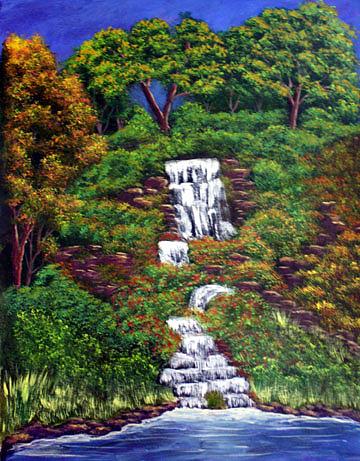 Waterfall Painting - Waterfall by Dawn Blair