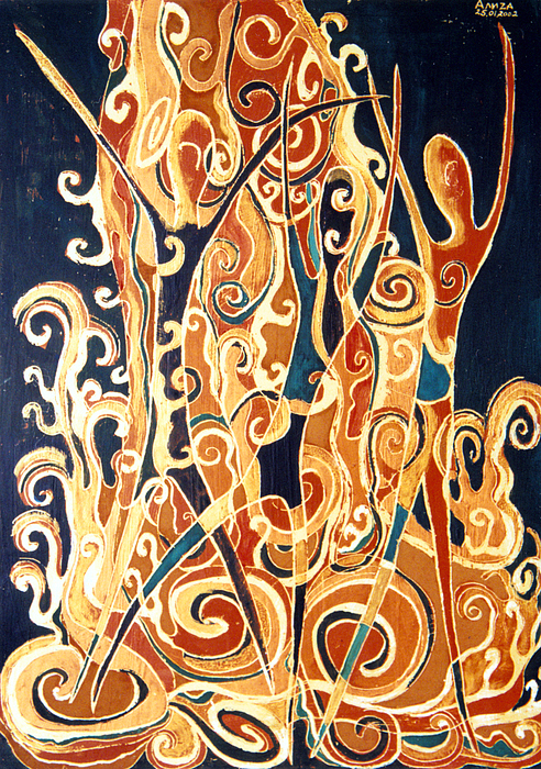 Figures Painting - Waterfall Of A Golden Rain by Aliza Souleyeva-Alexander
