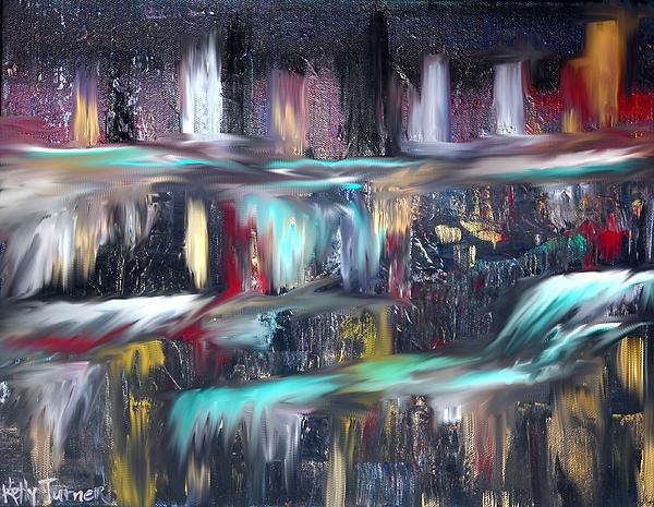 Water Painting - Waterfalls  by Kelly Turner