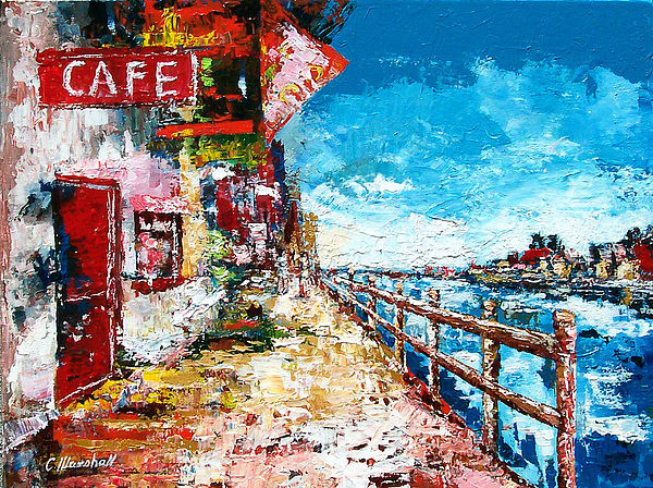 Painting Painting - Waterfront Cafe by Claude Marshall