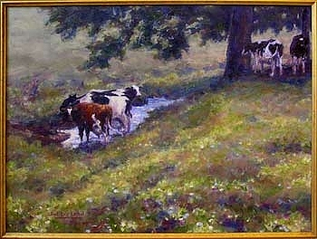 Pasture Painting - Watering Hole by Karl Eric Leitzel