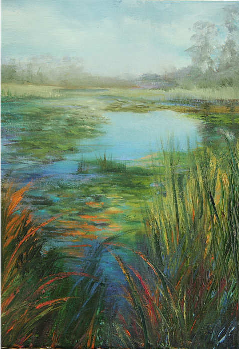 Oil Painting Painting - Waterlilies by Jill Holt