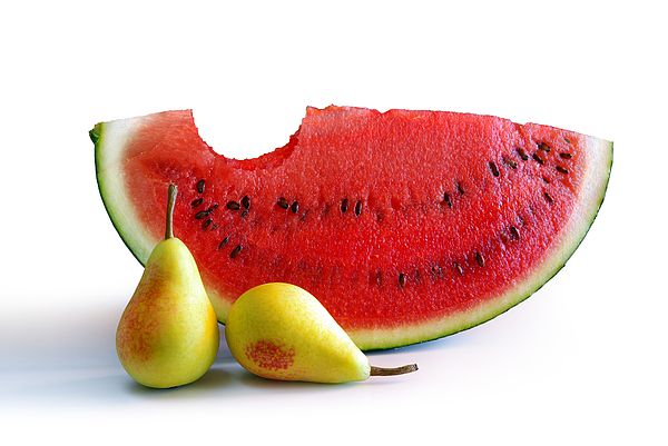 Arrangement Photograph - Watermelon And Pears by Carlos Caetano