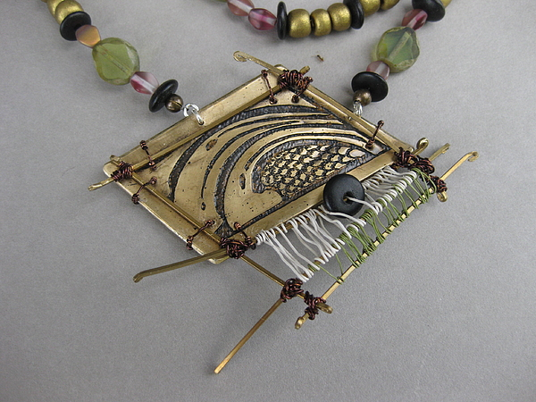 One Of A Kind Jewelry - Wave Pink And Green by Brenda Berdnik