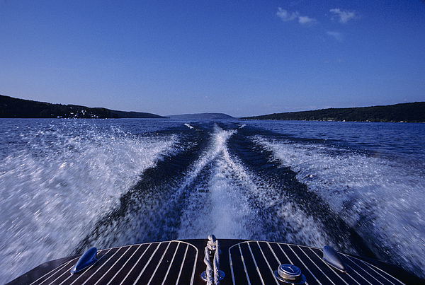 Finger Lakes Photograph - Waves Left In The Wake Of A Boat by Kenneth Garrett