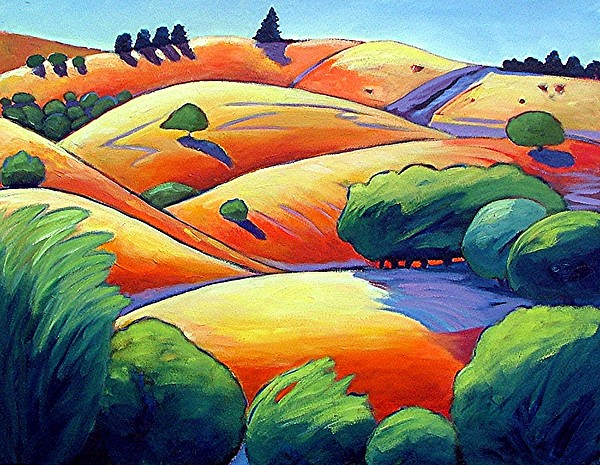 Landscape Painting - Waves Of Hills by Gary Coleman