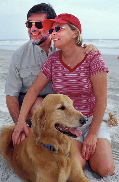 Man Photograph - We Love Our Dog by Carl Purcell