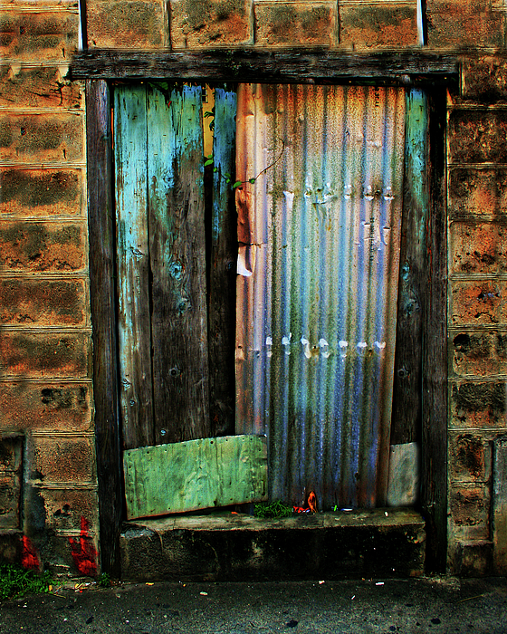 Door Photograph - Weatherd Entry by Perry Webster