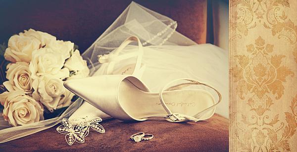 Wedding Shoes With Veil On Velvet Chair Photograph by Sandra Cunningham