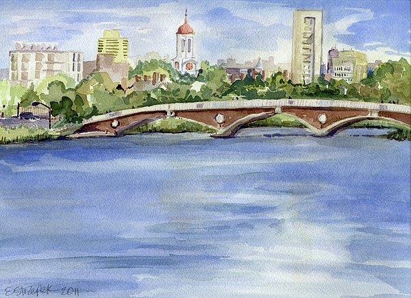 Blue Painting - Weeks Footbridge Over The Charles River by Erica Dale Strzepek